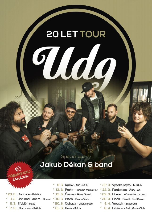 Plakat UDG 20 LET TOUR - 15.3.2019 - Čáslav - Hotel Grand